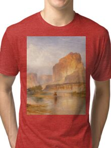Thomas Moran - Cliffs Of Green River. Mountains landscape: mountains, rocks, rocky nature, sky and clouds, trees, peak, forest, Canyon, hill, travel, hillside Tri-blend T-Shirt