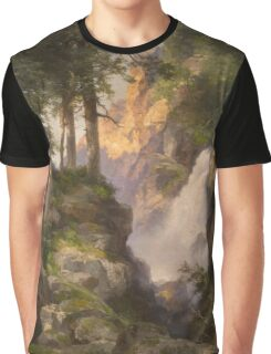 Thomas Moran - Falls At Toltec Gorge. Mountains landscape: mountains, rocks, rocky nature, sky and clouds, trees, peak, forest, Canyon, hill, travel, hillside Graphic T-Shirt