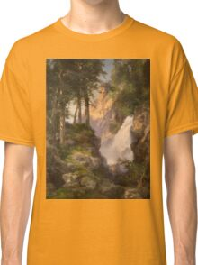 Thomas Moran - Falls At Toltec Gorge. Mountains landscape: mountains, rocks, rocky nature, sky and clouds, trees, peak, forest, Canyon, hill, travel, hillside Classic T-Shirt