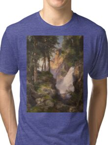 Thomas Moran - Falls At Toltec Gorge. Mountains landscape: mountains, rocks, rocky nature, sky and clouds, trees, peak, forest, Canyon, hill, travel, hillside Tri-blend T-Shirt