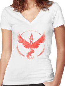 Team Valor grunge red Women's Fitted V-Neck T-Shirt