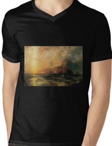 Thomas Moran - Fiercely The Red Sun Descending Burned His Way Along The Heavens. Sea landscape:  yachts view, holiday, sailing boat, coast seaside, waves beach, seascape, sun clouds, nautical, ocean Mens V-Neck T-Shirt