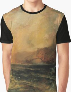 Thomas Moran - Fiercely The Red Sun Descending Burned His Way Along The Heavens. Sea landscape:  yachts view, holiday, sailing boat, coast seaside, waves beach, seascape, sun clouds, nautical, ocean Graphic T-Shirt