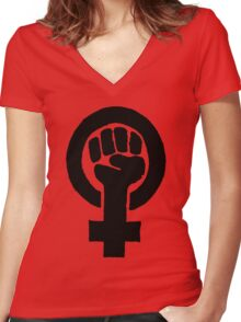 Black Woman Power Fist Women's Fitted V-Neck T-Shirt
