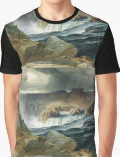Thomas Moran - Shoshone Falls, Snake River, Idaho. Mountains landscape: mountains, rocks, rocky nature, sky and clouds, trees, peak, forest, rustic, hill, travel, hillside Graphic T-Shirt