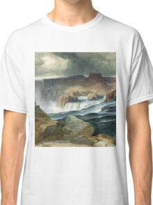 Thomas Moran - Shoshone Falls, Snake River, Idaho. Mountains landscape: mountains, rocks, rocky nature, sky and clouds, trees, peak, forest, rustic, hill, travel, hillside Classic T-Shirt