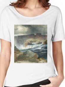 Thomas Moran - Shoshone Falls, Snake River, Idaho. Mountains landscape: mountains, rocks, rocky nature, sky and clouds, trees, peak, forest, rustic, hill, travel, hillside Women's Relaxed Fit T-Shirt