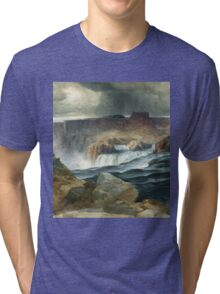 Thomas Moran - Shoshone Falls, Snake River, Idaho. Mountains landscape: mountains, rocks, rocky nature, sky and clouds, trees, peak, forest, rustic, hill, travel, hillside Tri-blend T-Shirt