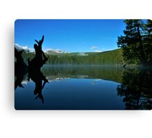 Mountain lake with reflection sky Canvas Print