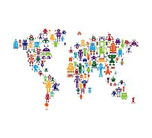 Robot Map of the World Map Photographic Print