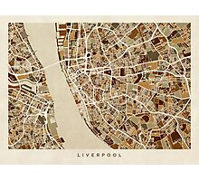 Liverpool England Street Map Photographic Print