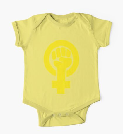 Yellow Feminist Fist One Piece - Short Sleeve