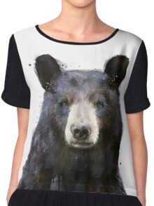 Black Bear Chiffon Top