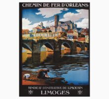 Limoges, French Travel Poster Kids Tee