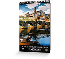 Limoges, French Travel Poster Greeting Card
