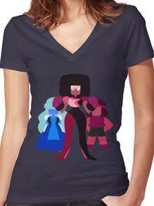 Minimalist Garnet Fusion Vector Women's Fitted V-Neck T-Shirt