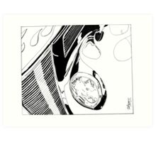 1937 Ford Coupe Hotrod with Flames - Pen and Ink Art Print