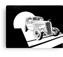 1934 Ford Tudor Sedan Hotrod - Inked Canvas Print
