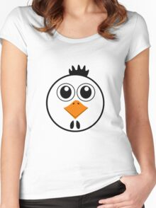 chicken with Yellow nose Cartoon animation Women's Fitted Scoop T-Shirt
