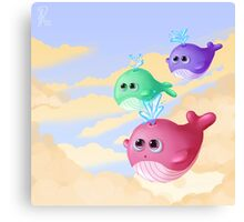 Tiny whales Canvas Print