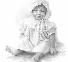 baby girl in dress & bonnet drawing  by Mike Theuer