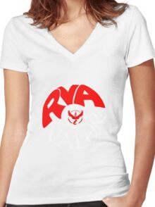 Team Valor RVA - Pokeball Version Women's Fitted V-Neck T-Shirt