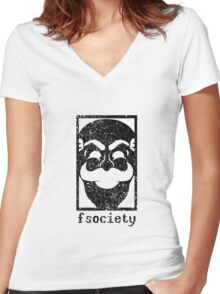 Mr Robot - Fsociety Women's Fitted V-Neck T-Shirt