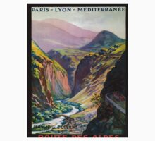 Route des Alpes, French Travel Poster One Piece - Short Sleeve