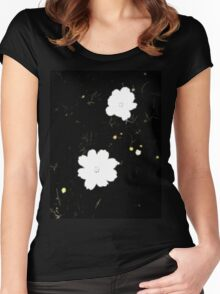 Daisies in Black Women's Fitted Scoop T-Shirt