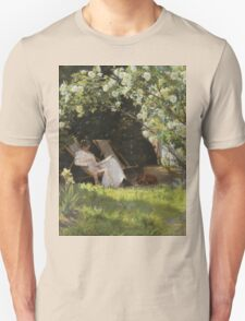 Severin Roesen - Roses. Marie Kroyer Seated In The Deckchair In The Garden. Still life with flowers: bouquet, flowers, bumblebee , carnations, peonies, roses, tulips, marigolds, life, garden, blossom Unisex T-Shirt