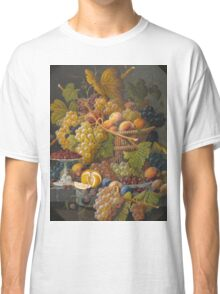 Severin Roesen - Still Life With Fruit 1855. Still life with fruits and vegetables: strawberries , champagne,, lemon , grapes , cherries, peaches, apples, pears, apricots, raspberries, vase Classic T-Shirt