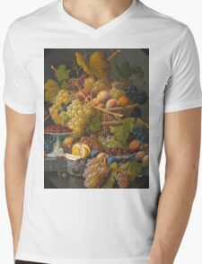 Severin Roesen - Still Life With Fruit 1855. Still life with fruits and vegetables: strawberries , champagne,, lemon , grapes , cherries, peaches, apples, pears, apricots, raspberries, vase Mens V-Neck T-Shirt