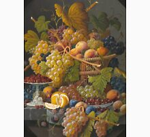Severin Roesen - Still Life With Fruit 1855. Still life with fruits and vegetables: strawberries , champagne,, lemon , grapes , cherries, peaches, apples, pears, apricots, raspberries, vase Unisex T-Shirt