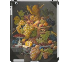 Severin Roesen - Still Life With Fruit 1855. Still life with fruits and vegetables: strawberries , champagne,, lemon , grapes , cherries, peaches, apples, pears, apricots, raspberries, vase iPad Case/Skin