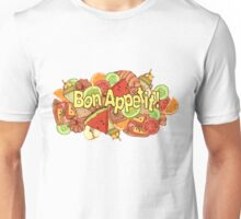 image of a mix of various food items with a label Unisex T-Shirt