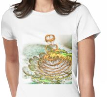 Golden Bloom - Abstract Fractal Artwork Womens Fitted T-Shirt