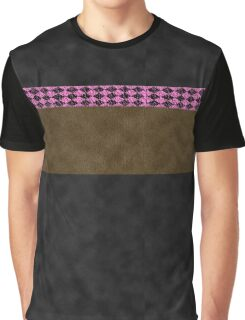 Black and Brown Visual Faux Suede with Crinkled Hot Pink and Black Diamond Harlequin Pattern Band Western Chic Graphic T-Shirt