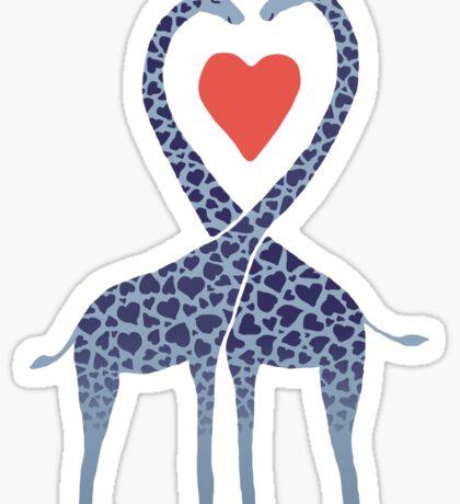 Giraffes in Love - A Valentine's Day Illustration Sticker
