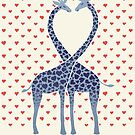 Giraffes in Love - A Valentine's Day Illustration by micklyn