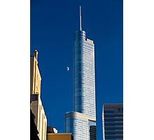 Chicago Illinois, skyline. Trump tower and the moon on blue aky Photographic Print