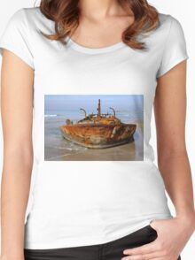 Rusty abandoned beached ship  Women's Fitted Scoop T-Shirt