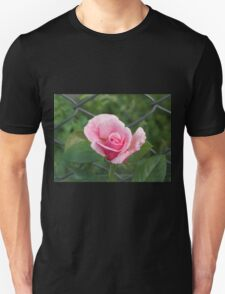Pink rose and wire fence Unisex T-Shirt