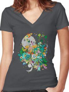 Imaginary Land Women's Fitted V-Neck T-Shirt
