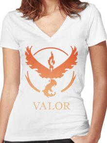 TEAM VALOR - POKEMON GO TSHIRT Women's Fitted V-Neck T-Shirt