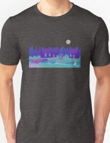 Low Poly cabin at night T-Shirt