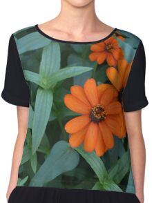 Orange flowers and green leaves Chiffon Top