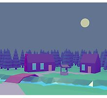 Low Poly cabin at night Photographic Print
