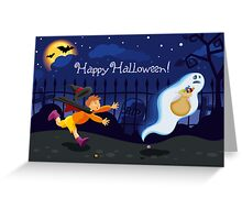A boy and a ghost Greeting Card