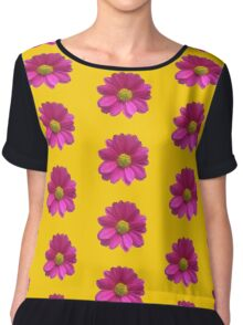 Pink Imperfect Daisy (on yellow)  Chiffon Top