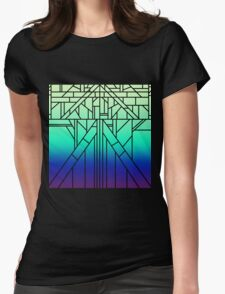 gradient with black lines Womens Fitted T-Shirt